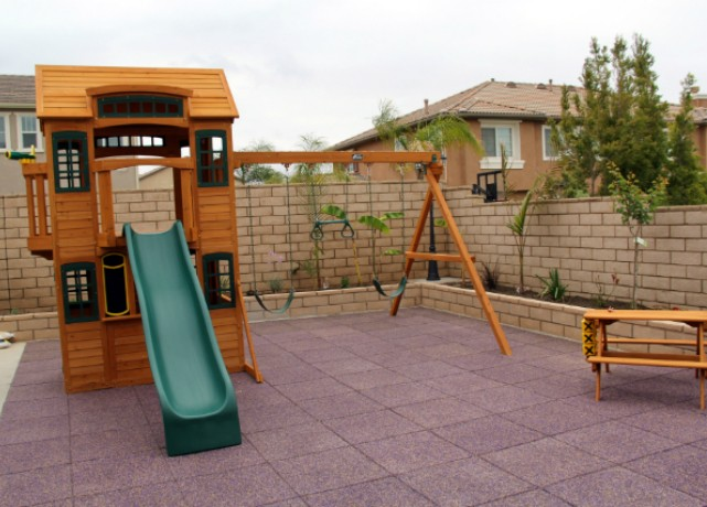 Playground Tiles in Backyard ... - Environmental Molding Concepts (EMC) - Safe Backyard Rubber
